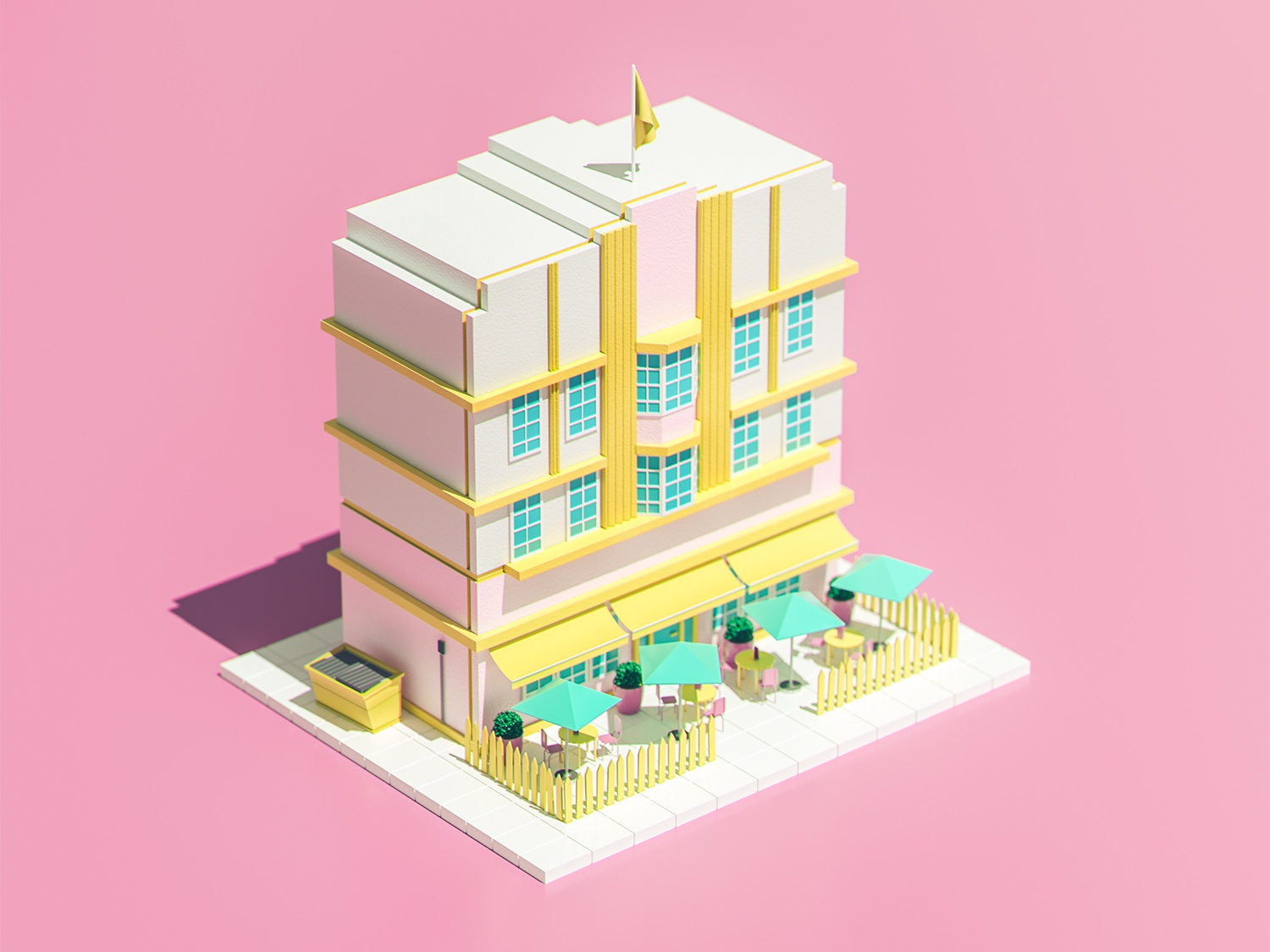 Nice Building #3 city yellow pink colorful octane art deco architecture low poly building illustration design cinema 4d 3d