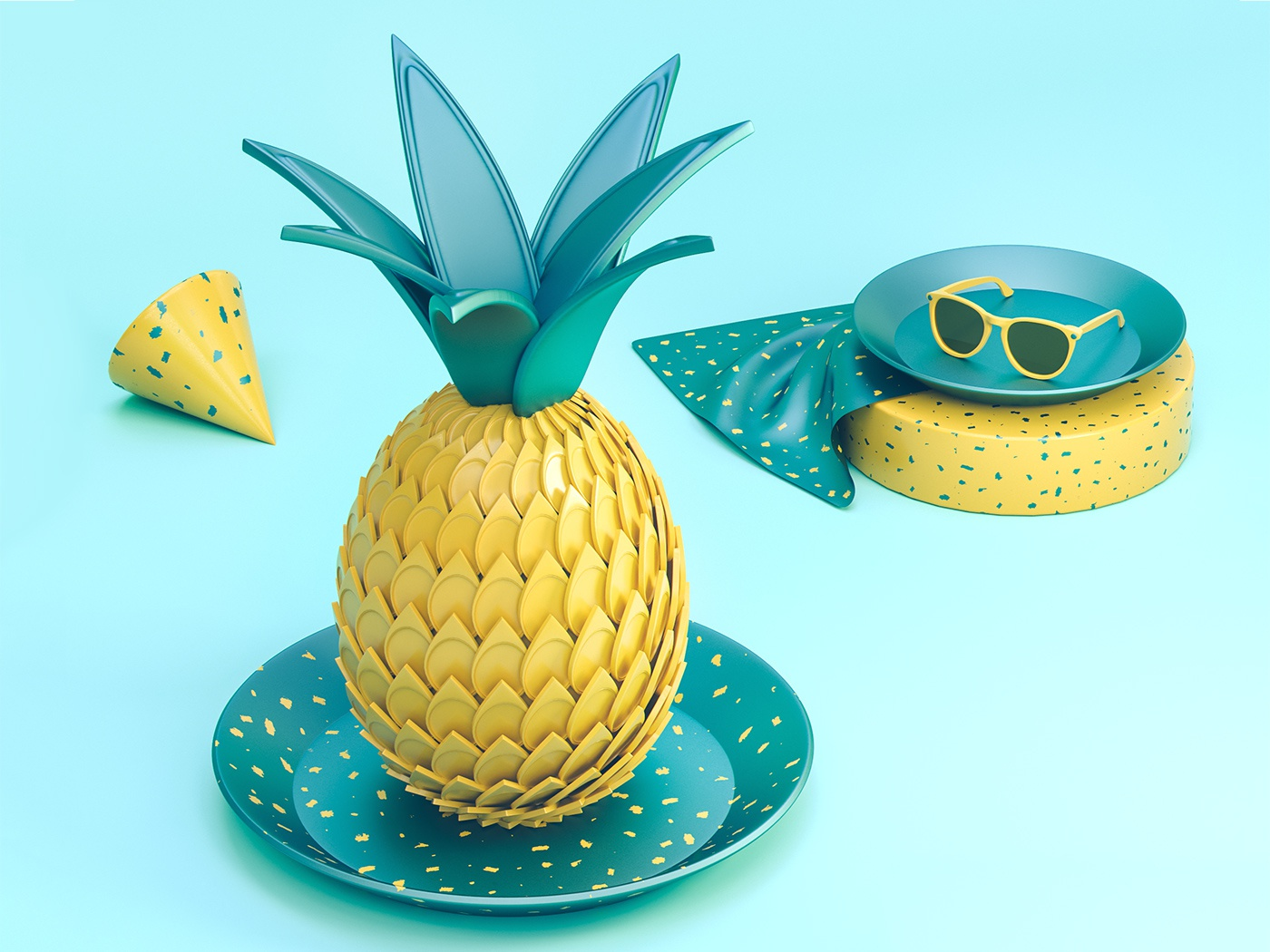 Summer Vibes #1 still still life fruit pineapple yellow sunglasses abstract low poly octane illustration design cinema 4d 3d summer