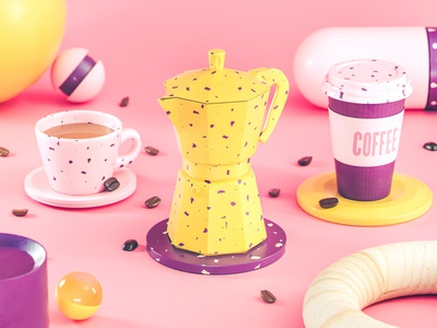 Coffee Experience moka abstract coffee beans colorful product take away coffee octane render illustration design cinema 4d 3d
