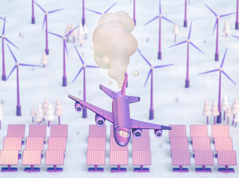 Future of Transportation - Airplane editorial windmill solar panels smoke climate change airplane plane transport octane 3d illustration illustration design cinema 4d 3d