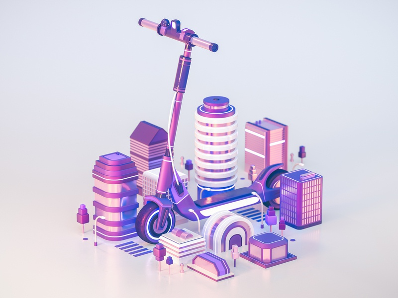 Future of Transportation - E-Scooters climate change electric future scooters scooter architecture building cities city transport 3d illustration illustration design cinema 4d 3d