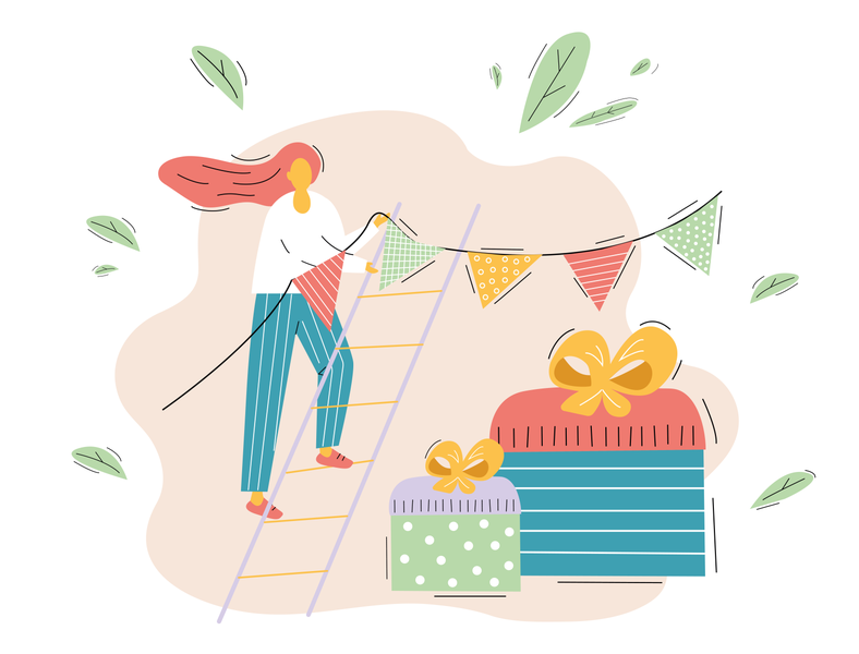 birthday concept decorating flags gift box app concept ux ui girl colour charachter 2d art vector illustration flat