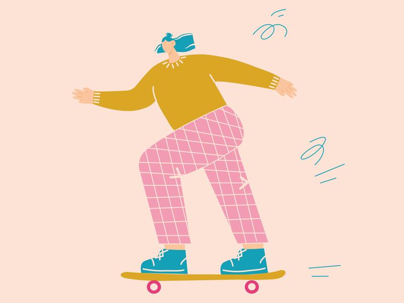 Skating fun colour cartoon character skateboarding girl charachter 2d art vector illustration flat