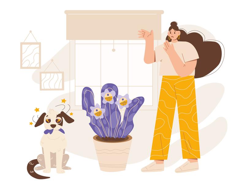 Test work colour girl 2d illustration for motion futuristic plant dog advertisment fun concept charachter 2d art vector illustration flat