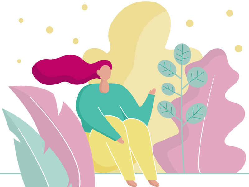 Girl plant coloful charachter welcome 2d art vector flat illustration summer girl
