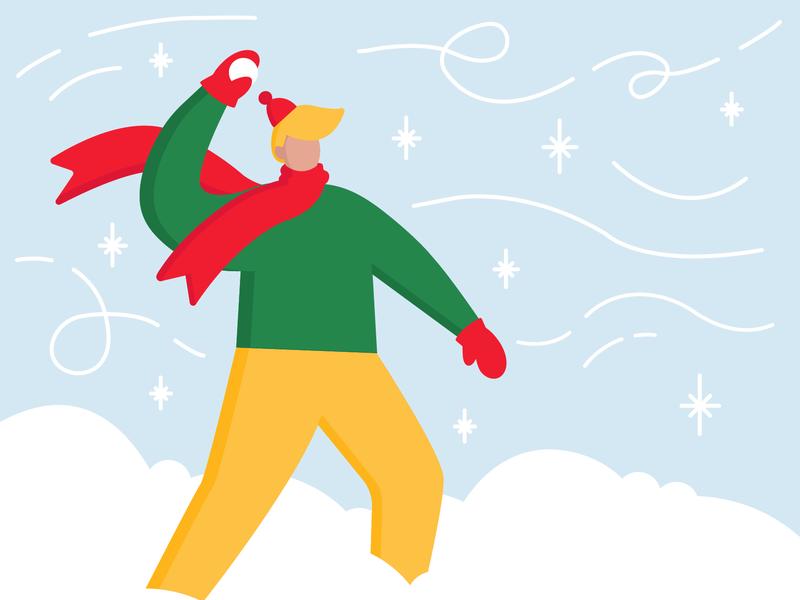 Snowball holiday card holidays charachter winter fun snowflake snow vector flat illustration