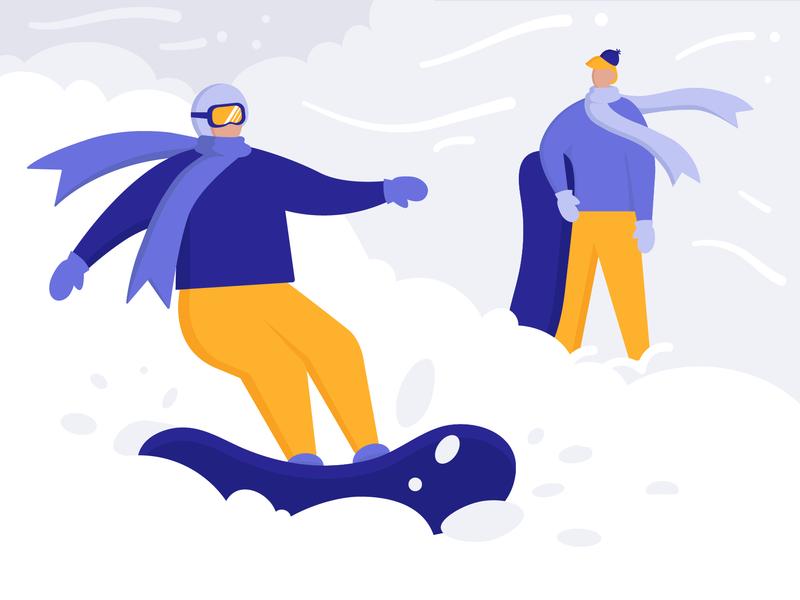 Snowboarding fun board resort holiday snowboarding sport winter 2d art charachter vector flat illustration