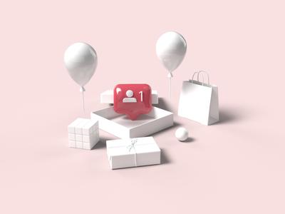 3D Concept Instagram Followers Notification