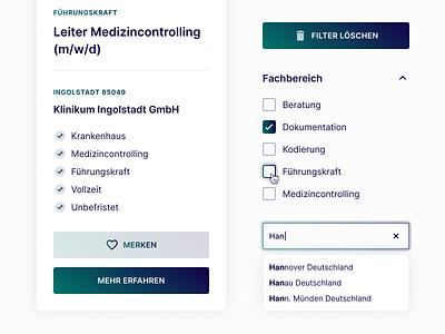 UI Components for Medical Job Board ui component symbol component modern medical figma simple design website webdesign web ui