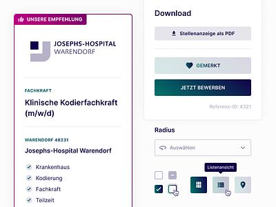 UI Components for Medical Job Board symbols design system component minimal landing page website web webdesign ui