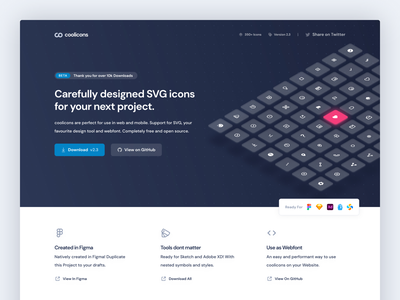 coolicons.cool | Landing Page coolicons cool icon design freebie free figma iconset icon icons landing page website webdesign web ui