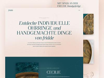 fridde | Handmade handmade Jewelry branding figma illustration typography photo ui landing page website web webdesign