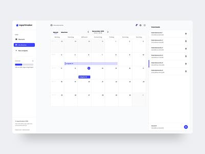 Calendar view for Reportmaker dashboard branding design minimal calender logo simple design website webdesign web ui