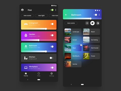 Philips Hue Remake For Android gradient color hue android app design interace app ui