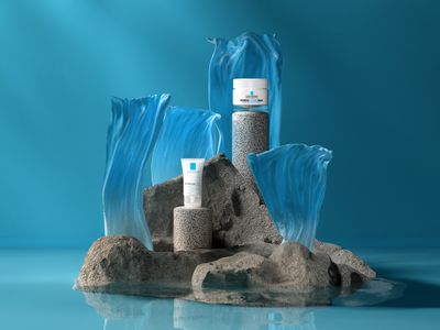 La Roche Posay - Peaceful island product minimal composition illustration redshift design cinema4d 3d artist branding 3d art
