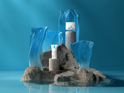 La Roche Posay - Peaceful island product minimal composition illustration redshift design cinema4d 3d artist branding 3d art