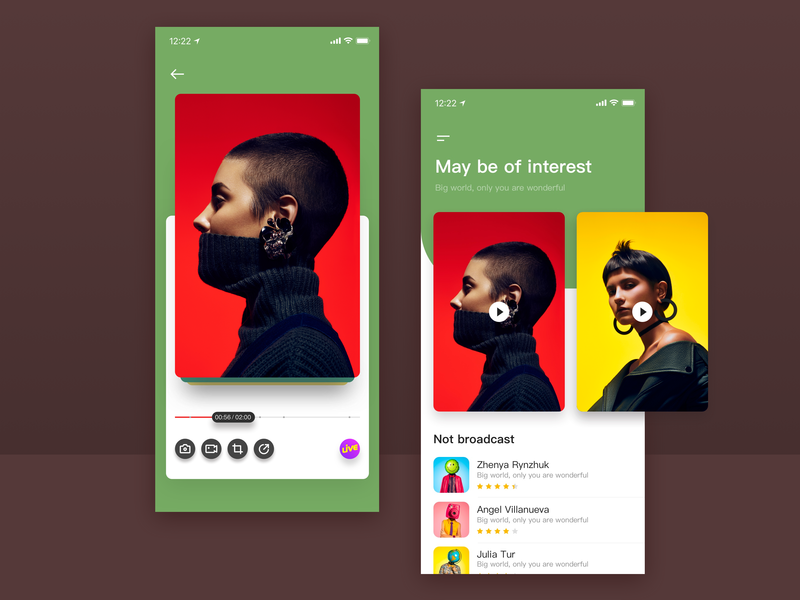 Live moments art wo men black yellow green red typography icon uikit,fit,sketch,data, ux interest live app ios ui design