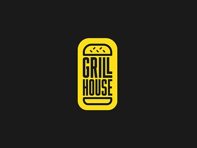 Grill House icon burger rebrand minimal flat logo branding