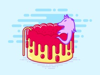 Wolf in jelly pool