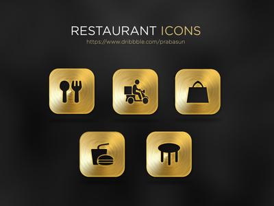 Restaurant Gold Icons