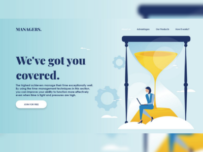 Landing page design for managers website
