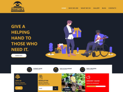 Homepage for a NGO website