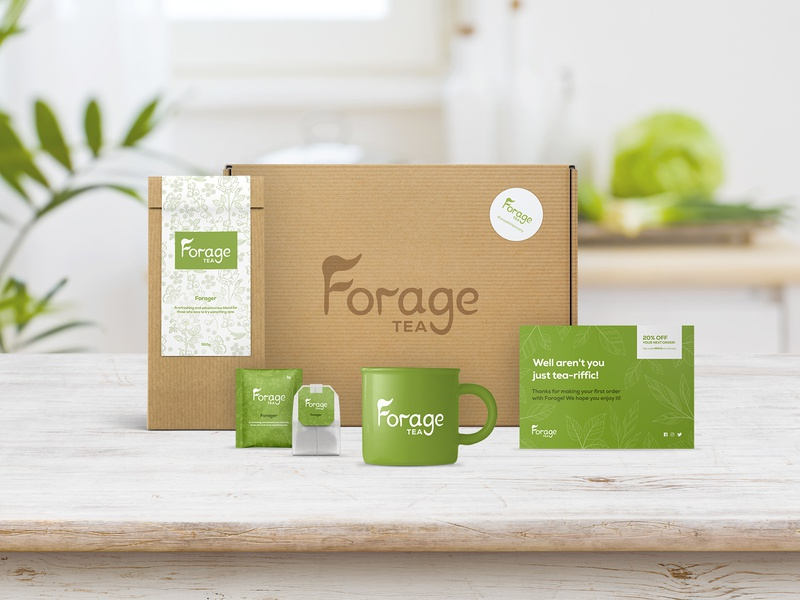 Forage Tea - Packaging Mockup 01 typography tea product design photoshop packaging mockup logo graphic design design colours clean branding brand identity brand