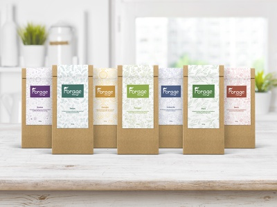 Forage Tea - Packaging Mockup 02 typography tea product design photoshop packaging mockup logo graphic design design colours clean branding brand identity brand