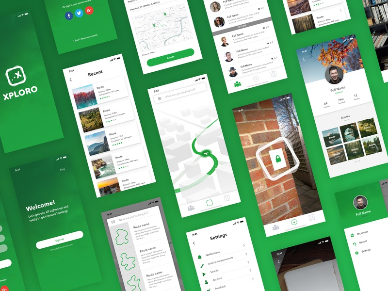 Xploro - App user interface user experience ui typography type product design mockups mobile minimal layout ios interface interaction icon flat design concept colours application app