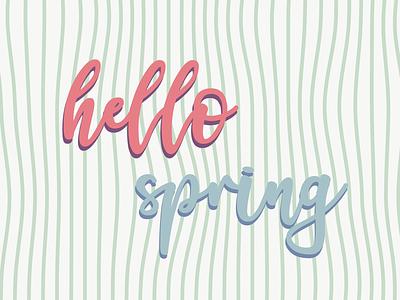 Hello Spring hello type lines web print illustrator spring