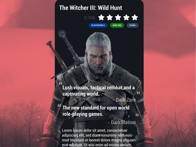 Daily UI #045 - Info Card games witcher 3 ui ux daily ui