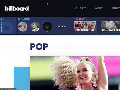 New Billboard Nav + Contextual Menu music design ux ui