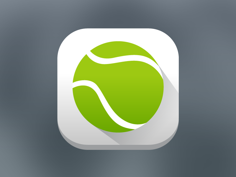 Tennis App icon gradient rounded long shadow material push icon ball tennis