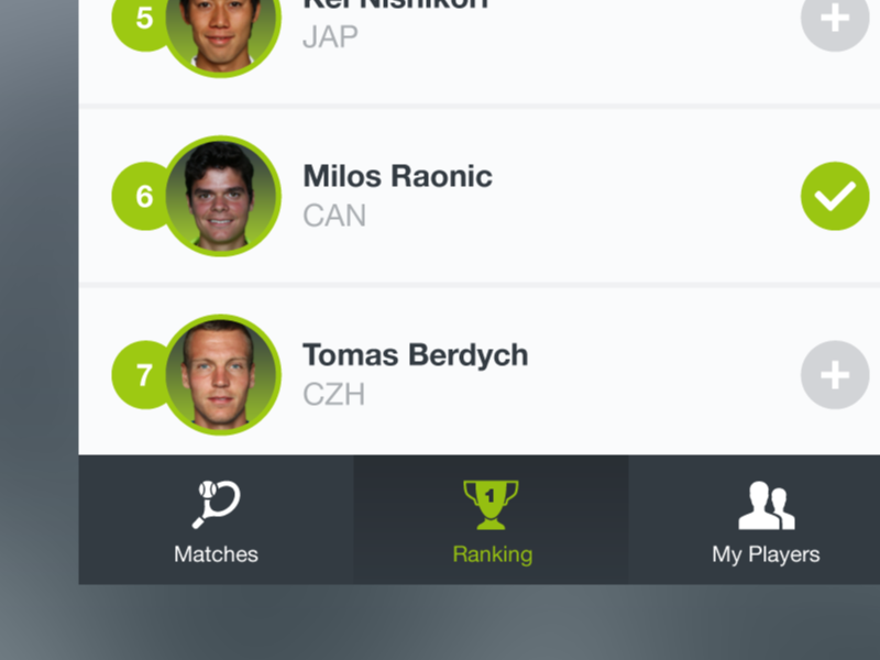 SpinScout - Ranking screen material push scores ranking players tennis