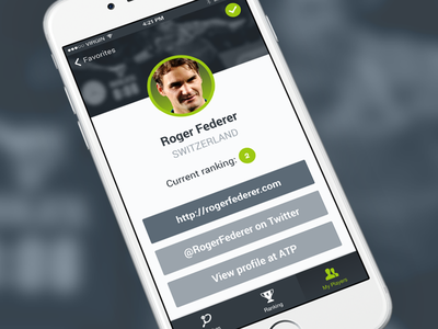 Tennis app Profile screen ionic iphone material flat scores ranking profile players tennis