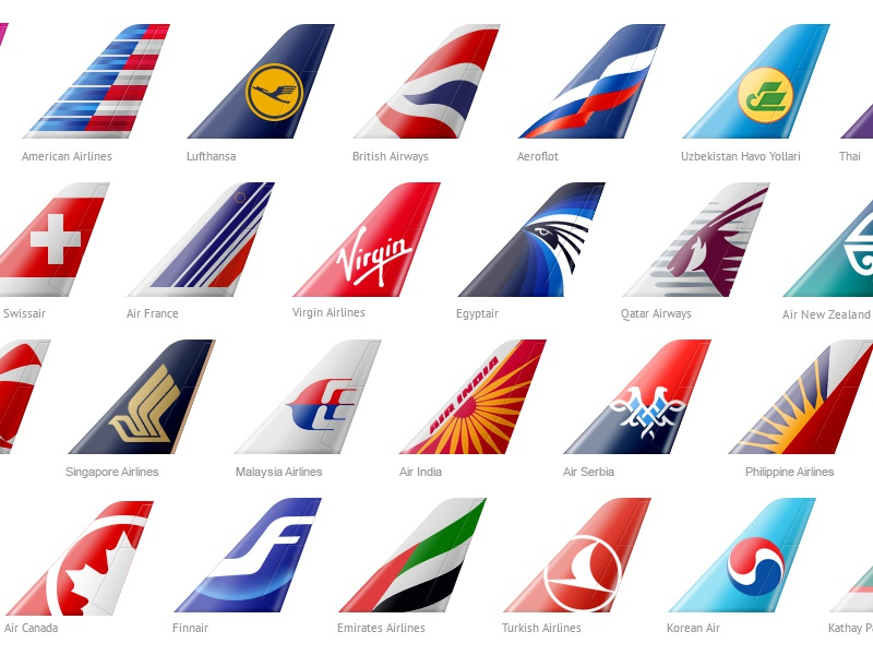 Name Of Logos Around The World >> Tails of Airline Companies by Spacebase - Dribbble