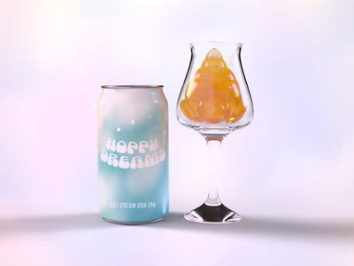Hoppy Dreams Beer Co. beer label ohnotype branding dimension 3d beercan beer branding beer