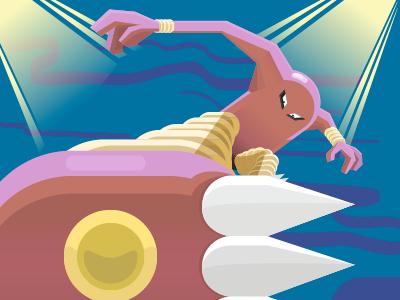 Hitmonlee geometric flat vector pokemon illustration