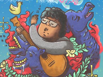 Dromedarios Mágicos space guitar music camel vector illustration