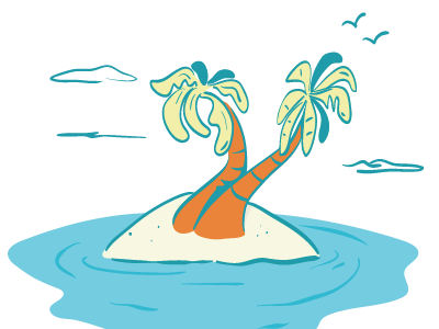 deserted island doddle vector cartoon sea palm
