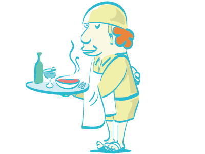 CaboMero cartoon war soldier vector character waiter illustration
