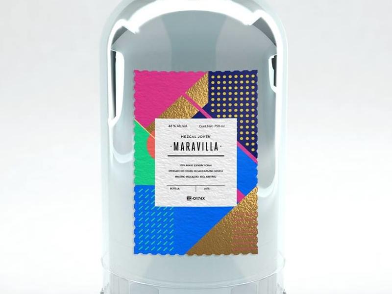 Mezcal Joven Maravilla modular geometric mexico color render detail branding foil design label mezcal