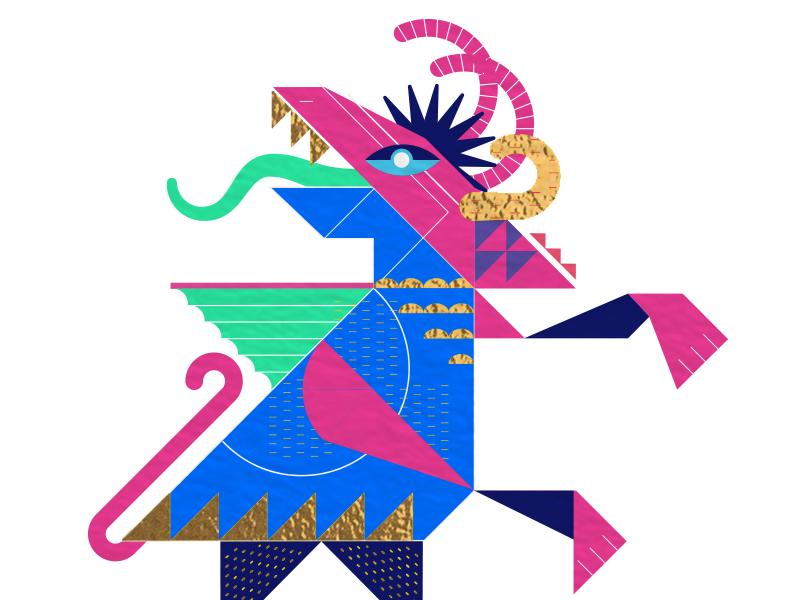 Alebrije diablo mezcal beast mexico pink gemoetric vector dragon devil illustration alebrije