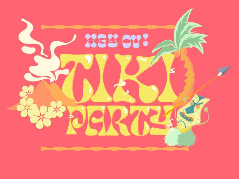 Tiki Party tropical hawaii type cartoon character vector engraving illustration