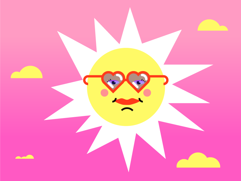 Sunny vibe doodle illustration vector pool chill summer funny glasses sun