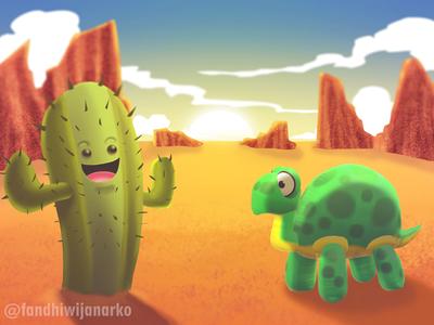 Mr. Cactus meets balloon turtles in the desert