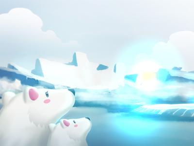 Polar Bear and the big blue light