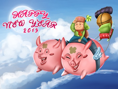 Earth Pig 2019 Happy New Year