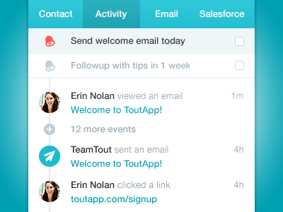 Tout Activity Feed user interface user experience teal email activity social