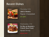 Recent Dishes Sidebar